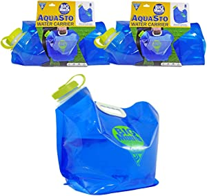 Seattle Sports AquaSto BigMouth Collapsible Water Container Bag, BPA Free Food Grade Storage Jug for Camping Hiking Backpack Emergency, No-Leak Freezable Foldable 8 Liter