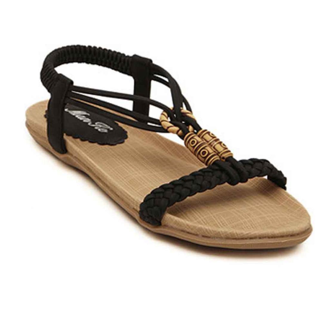 YANG-YI Clearance Women Sweet Style Beaded Clip Bohemian Herringbone Sandals (Black, US-6.5)