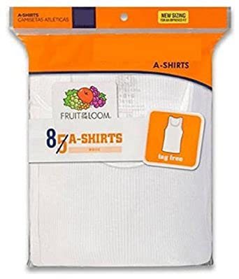 Fruit of the Loom 8Pack Boys White A-Shirts Tank Tops Undershirts Tanks S