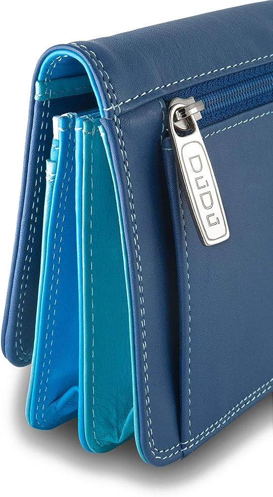 Portefeuille pour Femme Multicolore en Cuir Souple /à Soufflet sign/é DUDU Bleu