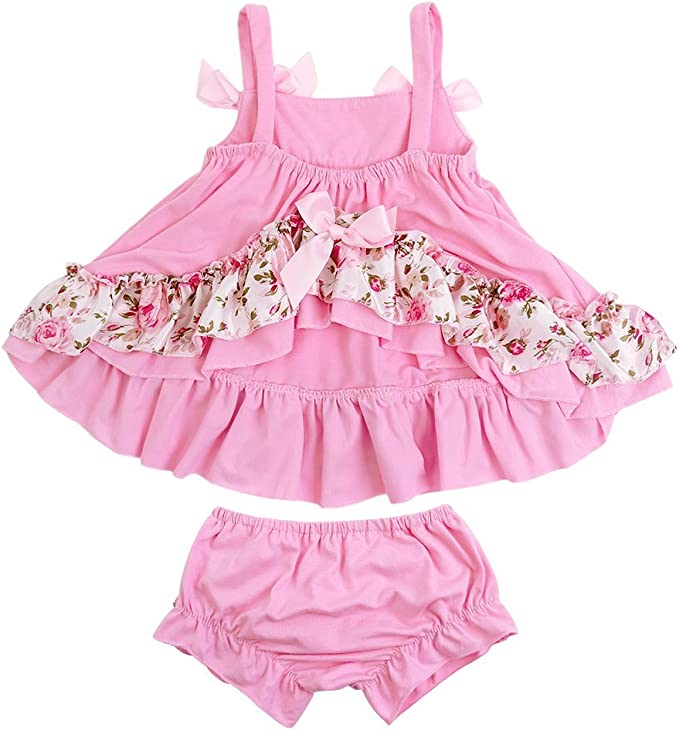 Coralup Toddler Baby Girls Zebra-Striped Rose Romper Dress with Headband /…