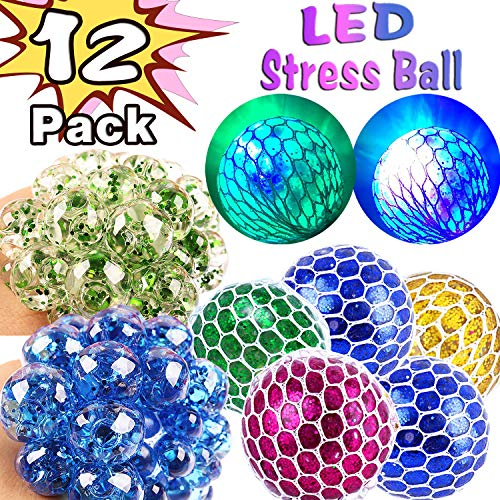 12 Pack LED Mesh Stress Relief Ball Toy for Kids Adult,Glow Light Up Anti-Stress Squeeze Sensory Balls Glitter Sequins Squishy Ball for ADD ADHD Autism Anxiety Hand Therapy Holiday Birthday Party Gift