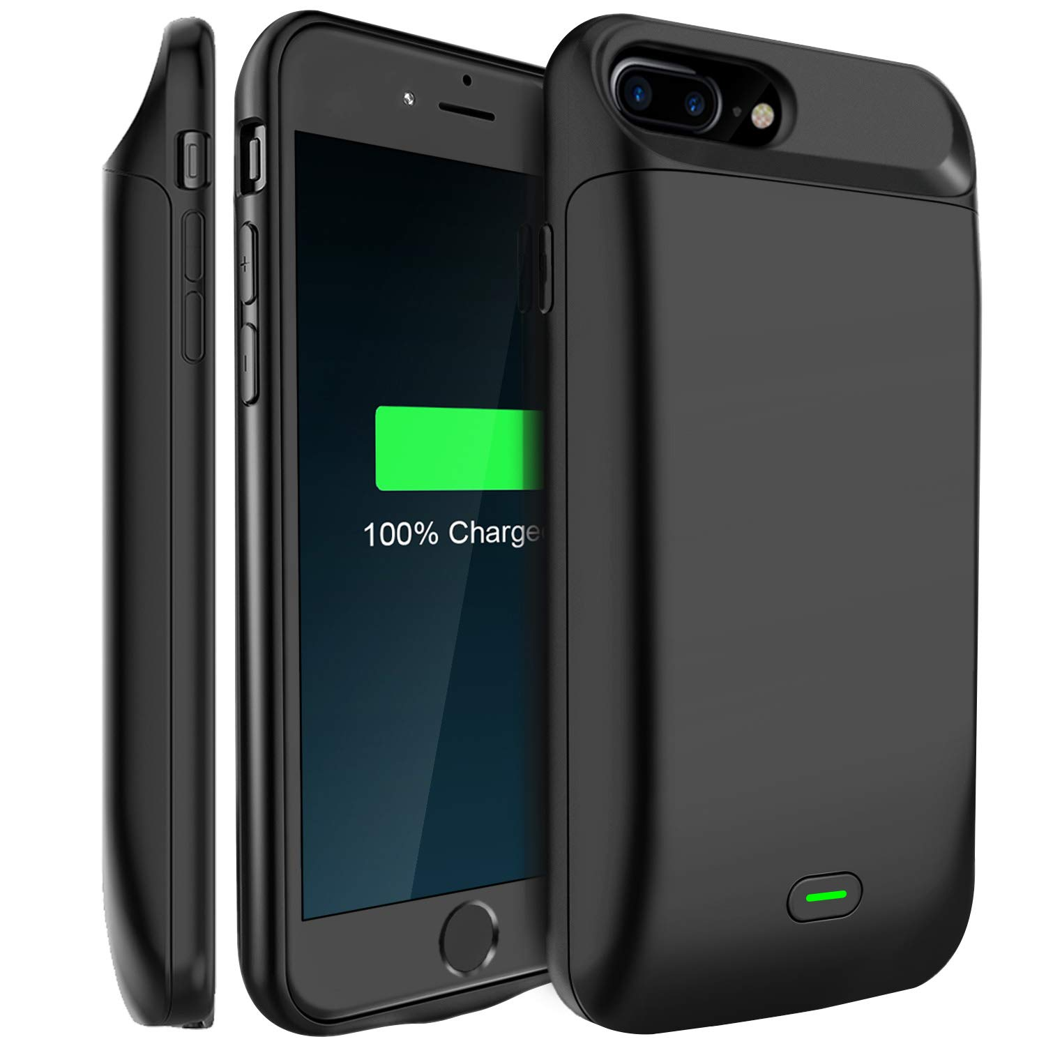 LoHi Battery Case, for iPhone 8 Plus / 7 Plus / 6s Plus / 6 Plus Portable & Protective 7200mAh Capacity Extended Smart Battery Charging Case, Support Headphones, 5.5'' Black by LoHi
