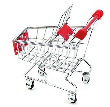 Mini Carrito de Compras de Supermercado, Juguete de Almacenamiento Bebes Mini Carro Divertido de Mano Decoracion del Escritorio, Rojo: Amazon.es: Hogar