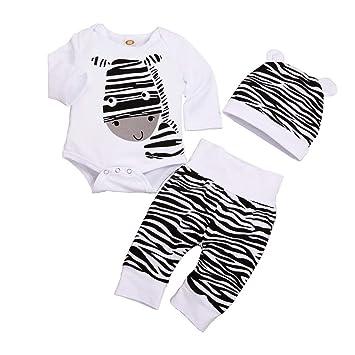 feiXIANG Bebé recién Nacido Ropa Infantil Niño Niña Bebé niña de Manga Larga con Estampado de Cebra Jumpsuit Hare + Pants + Hat Set de Tres Piezas: ...