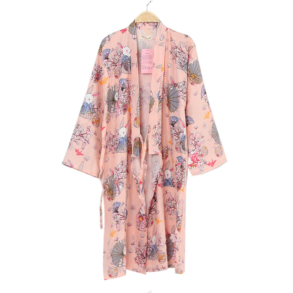 FANCY PUMPKIN Women's Kimono Robe Yukata Bathrobe Pajamas Pray Rabbits CLO-FIONA1045430-205