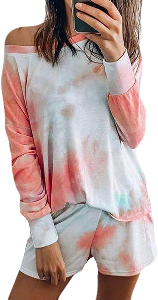 HGWXX7 Womens Tie-Dye Sets Two-Piece Lounge Shirt Crewneck Long Sleeves Tops Short Pants Leisure Wear Suit