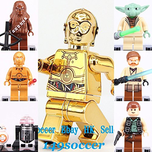 JMS 7pcs set Star Wars Custom Lego Minifigures Chrome Gold C-3PO & Yoda Han Solo