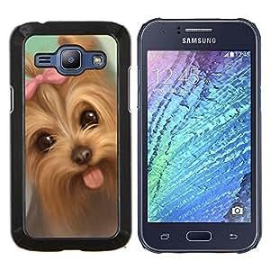 Lengua Yorkshire Terrier Puppy Dog Pink Bow- Metal de aluminio y de plástico duro Caja del teléfono - Negro - Samsung Galaxy J1 / J100