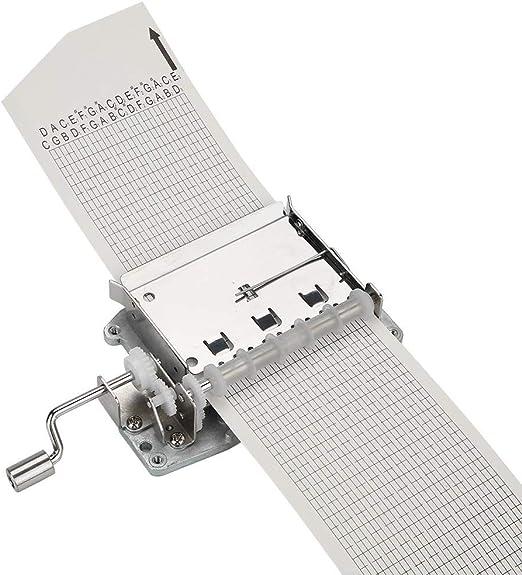 Hztyyier 30 Nota Movimiento de la Caja de música de Cuerda Manual Mecanismo Musical de Bricolaje con Cintas de Papel perforadoras para Muchas Canciones: Amazon.es: Hogar