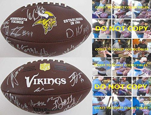 2016-2017 Minnesota Vikings,team,signed,autographed,nfl Logo Football,coa,proof - Autographed Footballs