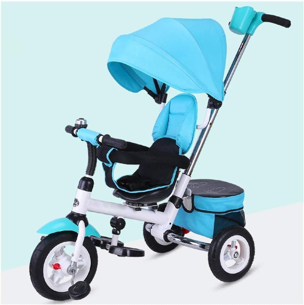 XIUYU Niños Trike Azul, niños Trike Bicicletas Primera Triciclo Scooter bebé Bike Balance Juguetes Triciclo Easy Clip y portátil 3 Wheeler |Marco de Metal de Bell 3 En 1