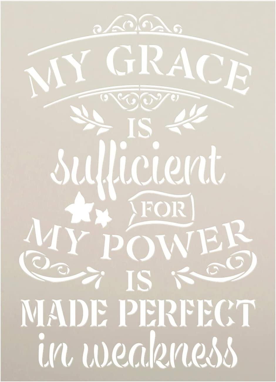 My Grace is Sufficient Stencil by StudioR12 | DIY Embellished Faith Home Decor | Paint Inspirational Wood Signs | Select Size (18 x 13 inch)