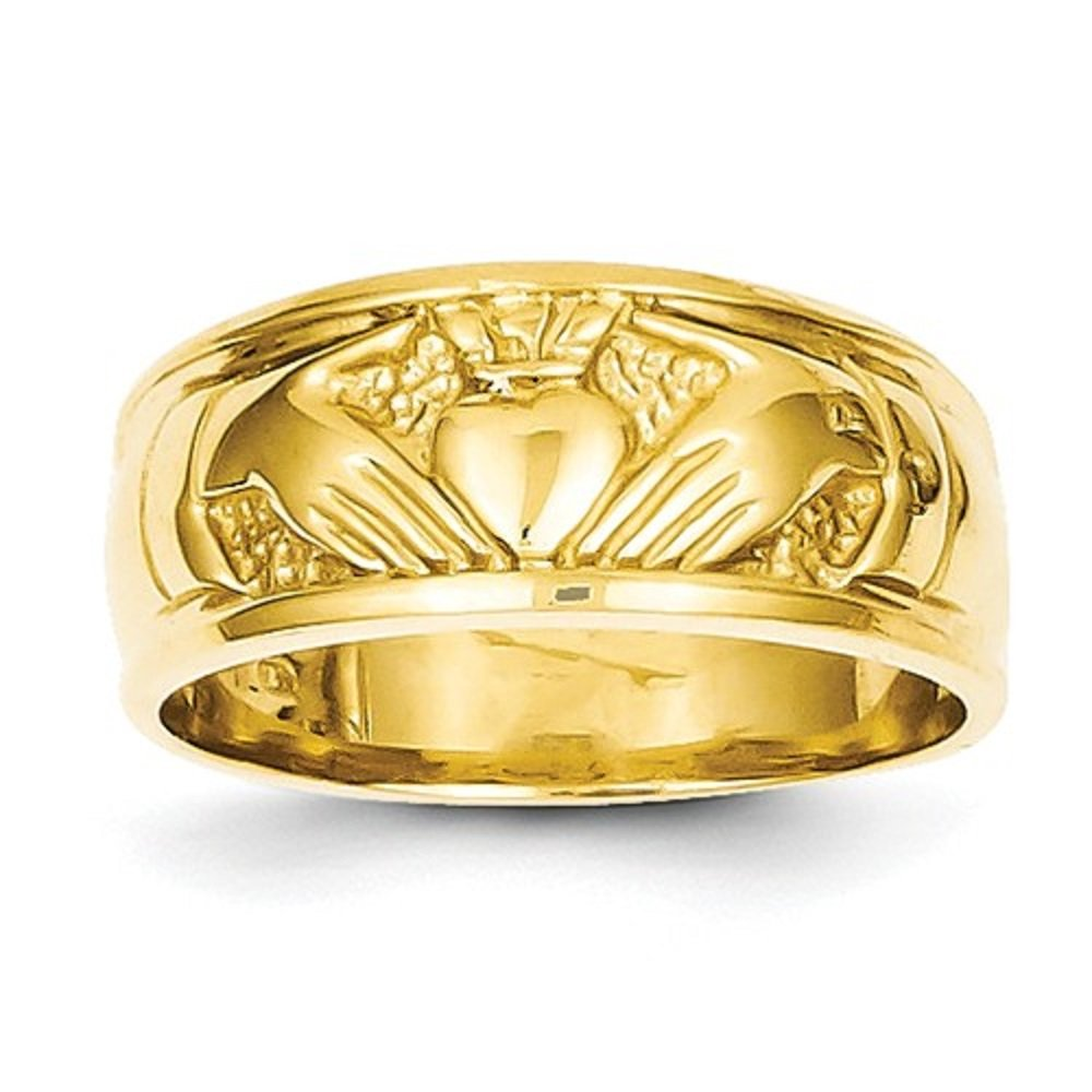 Qgold 14K Gold Claddagh Wedding Band Ring (Yellow-Gold)