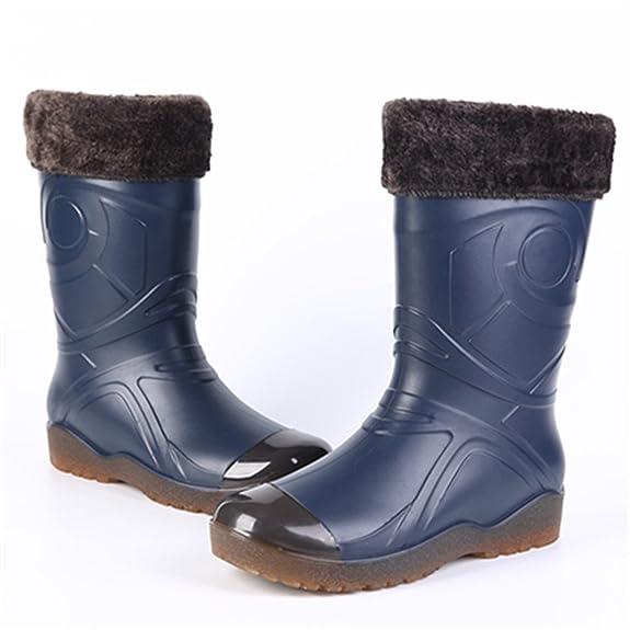 ... Stivali Pioggia Uomo Stivaletti Gomma Invernali Rain Boots con Fodera  Pelliccia Caldo Rimovibile per Lavoro Warehouse Pesca Caccia  Amazon.it   Scarpe e ... a2d25581a1b