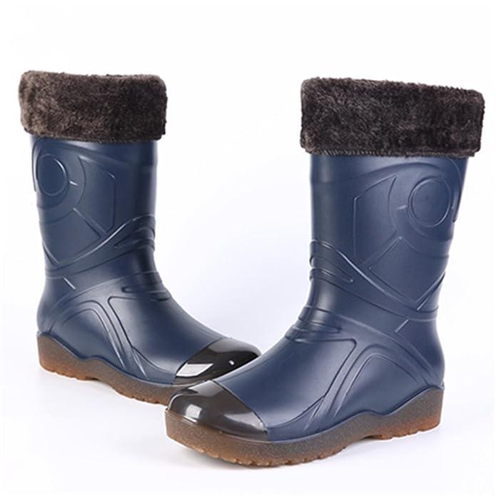 Sgoodshoes Stivali Pioggia Uomo Stivaletti Gomma Invernali Rain Boots con  Fodera Pelliccia Caldo Rimovibile per Lavoro Warehouse Pesca Caccia   Amazon.it  ... 5a03f22520a