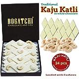 BOGATCHI Kaju Barfi White Chocolate, Goodness Milk and Roasted Cashews - Kaju Katli, 24pcs