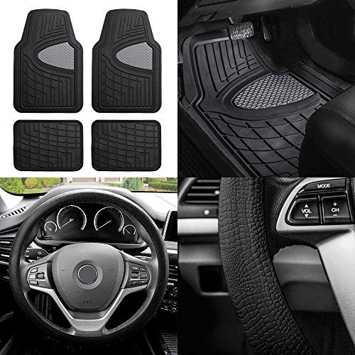 remium Tall Channel Rubber Floor Mats w. FH3001 Snake Pattern Silicone Steering Wheel Cover, Gray/Black Color ()