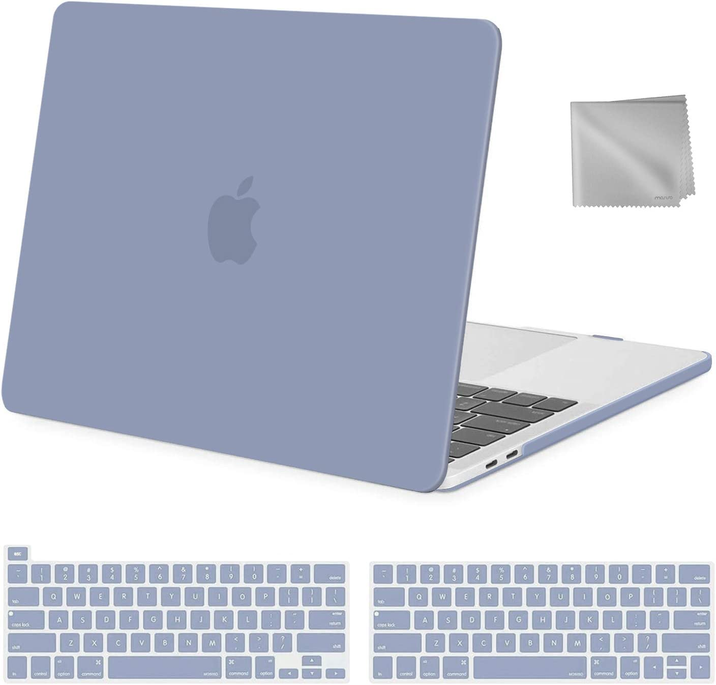 MOSISO MacBook Pro 13 inch Case 2020 2019 2018 2017 2016 Release A2289 A2251 A2159 A1989 A1706 A1708, Plastic Hard Shell&Keyboard Cover&Wipe Cloth Compatible with MacBook Pro 13 inch, Lavender Gray