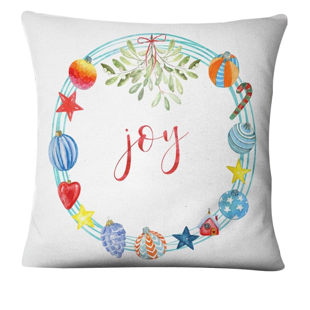 Challyhope Meery Christmas Cotton Linenet Cushion Cover Square Throw Pillow Case Pillow Shell 2017 New (45cm45cm, I)