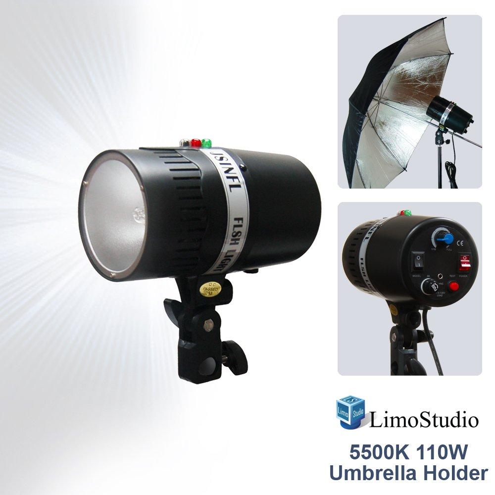 LimoStudio 160 Watt Digital Strobe Flash Light & Umbrella Reflector Holder