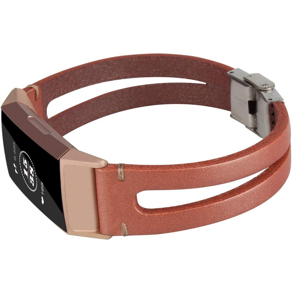 somoder ハンドメイドレザーバンド Fitbit Charge 3 ハンドメイドバイファーケイト ヴィンテージレザーブレスレット 交換用 Fitbit Charge 3 (DIYスタイル)  ローズゴールド B07JNQH3S1