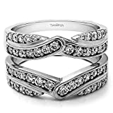 TwoBirch 0.74 ct. Cubic Zirconia Infinity Bypass Engagement Ring Guard in Sterling Silver (0.74 ct. twt.)