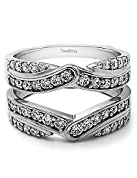 Silver Infinity Bypass Engagement Ring Guard with CZ (0.74 ct. twt.)