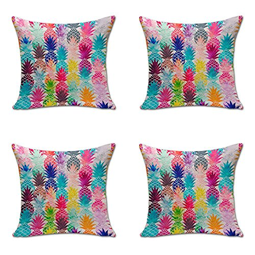 Ashasds Colorful Watercolor Pineapple Cotton Throw Pillow Covers with Zips Accent Pillows Case for Girls Family Children Size: 20x20 Inches Two ()