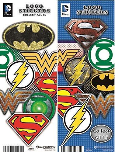 DC Comics Justice League Superheroes LOGO Stickers Set of 15 (Batman, Superman, The Flash, Green Lantern, wonder Woman, Aquaman and more...