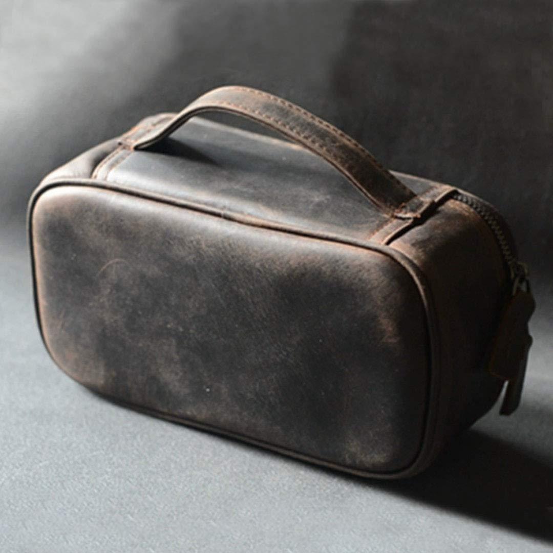 bbee8f9e28bb Amazon.com: Genuine Leather Travel Toiletry Bag For Men Dopp Kit bag ...