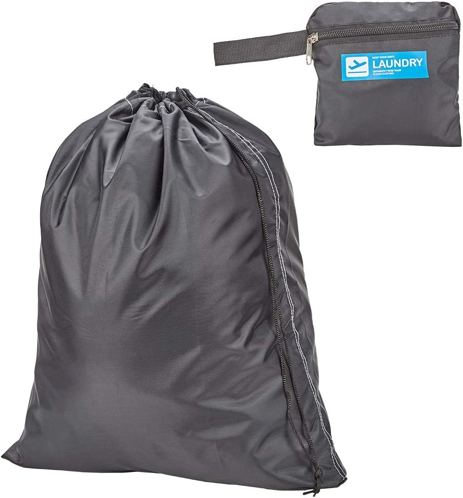 HOMEST Travel Laundry Bag, Compact and Lightweight, Black