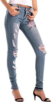LuckyGirls Pantalones Mujer Vaqueros Rotos Cintura Alta