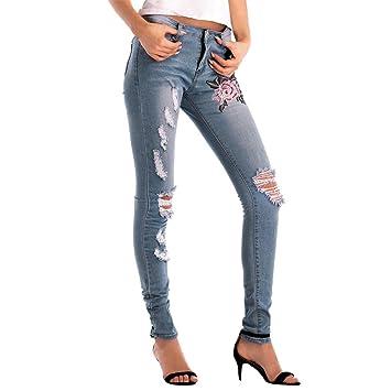 LuckyGirls Pantalones Mujer Vaqueros Rotos Cintura Alta ...