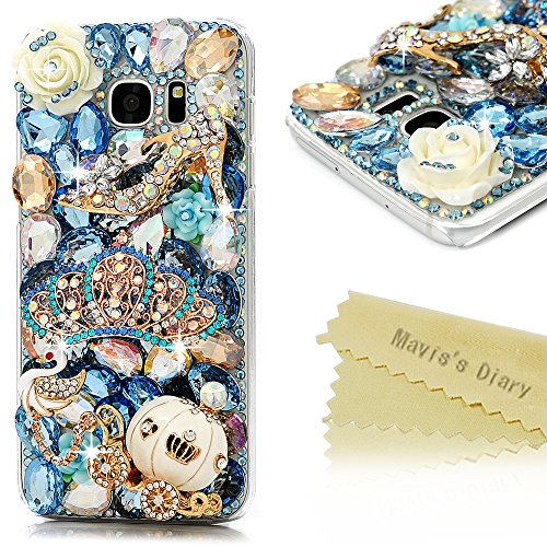 S7 Edge Case, Samsung Galaxy S7 Edge Case - Mavis's Diary 3D Handmade Bling Blue Diamond Crown Gold Pumpkin Car High-heeled Shoe Cute Swan Colorful Flowers Shiny Rhinestone Gems Clear Hard PC Cover