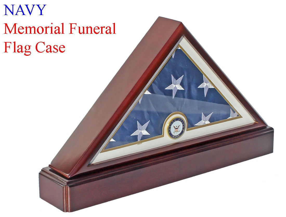 Honorable U.S. Navy FLAG DISPLAY CASE Military Shadow Box for 5'X9.5' Burial/Funeral/Casket Folded, FC69P5 by DisplayGifts
