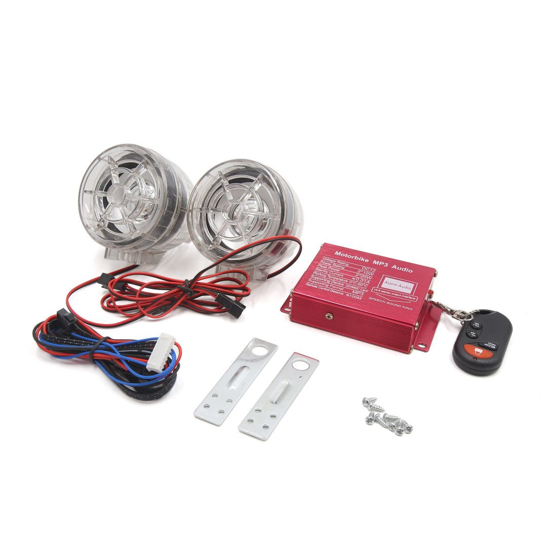 uxcell 2Pcs Clear Motorcycle MP3 Player Loudspeaker Audio Sound FM Radio Security Alarm