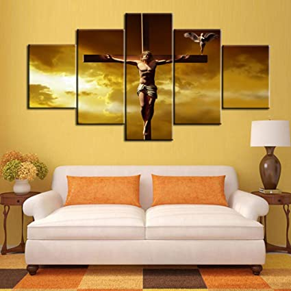 Large Wall Decor Jesus Crucifixion Christianity Symbol Canvas for Living  Room Decor Painting 5 Panel Pictures,Artwork Framed Giclee Posters nad  Prints ...