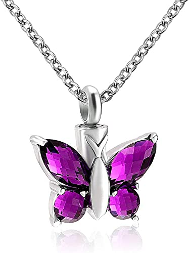 Lovely Butterfly Cremation Keepsake Memorial Pet Ashes Holder Urn Pendant