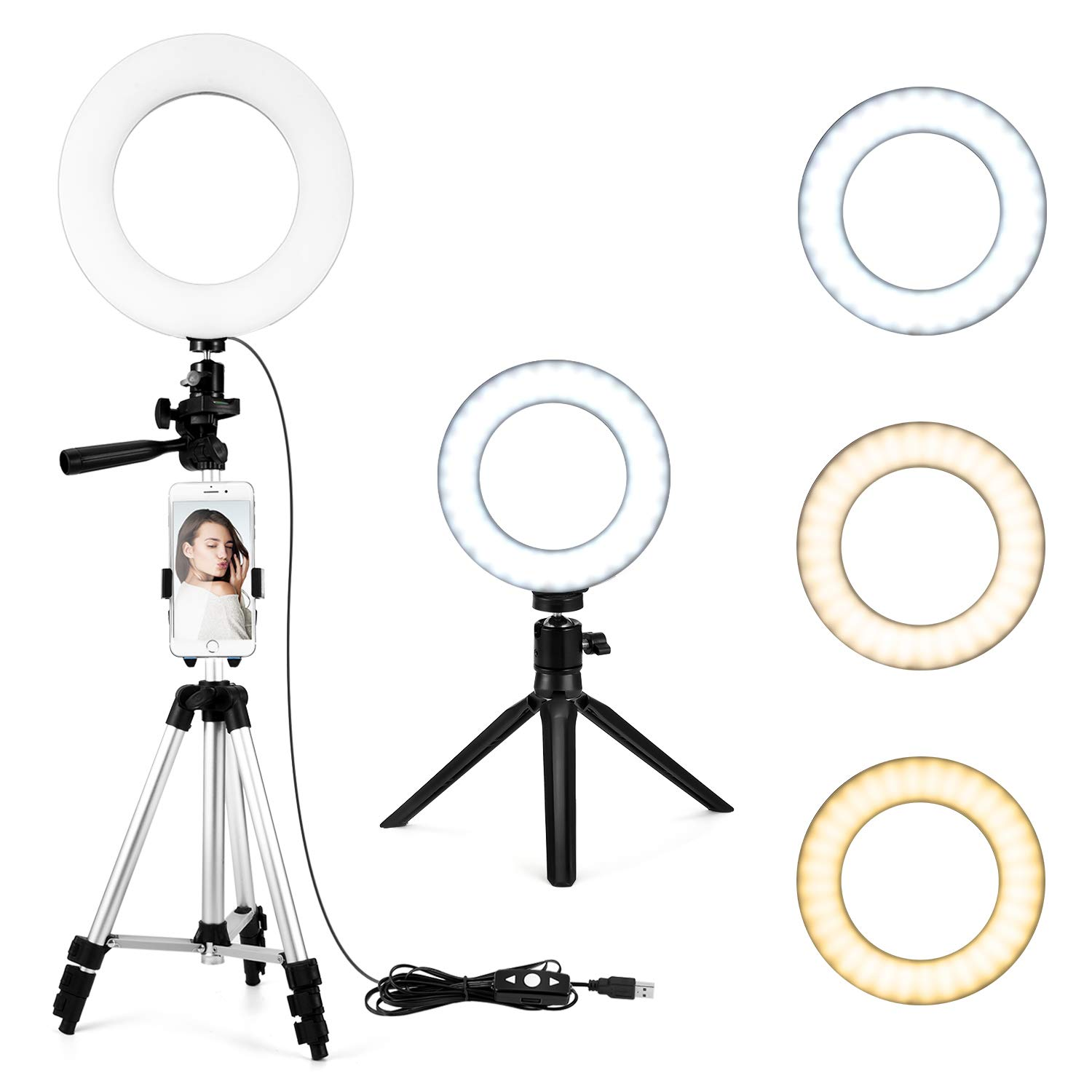 6'' Selfie Ring Light with Tripod Stand & Cell Phone Holder for Live Stream/Makeup, KMASHI Mini Led Camera Ringlight for YouTube Video/Photography Compatible with iPhone Xs Max XR Samsung
