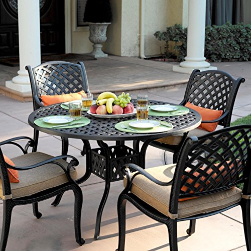 - Darlee Nassau 5 Piece Cast Aluminum Patio Dining Set with Round Table