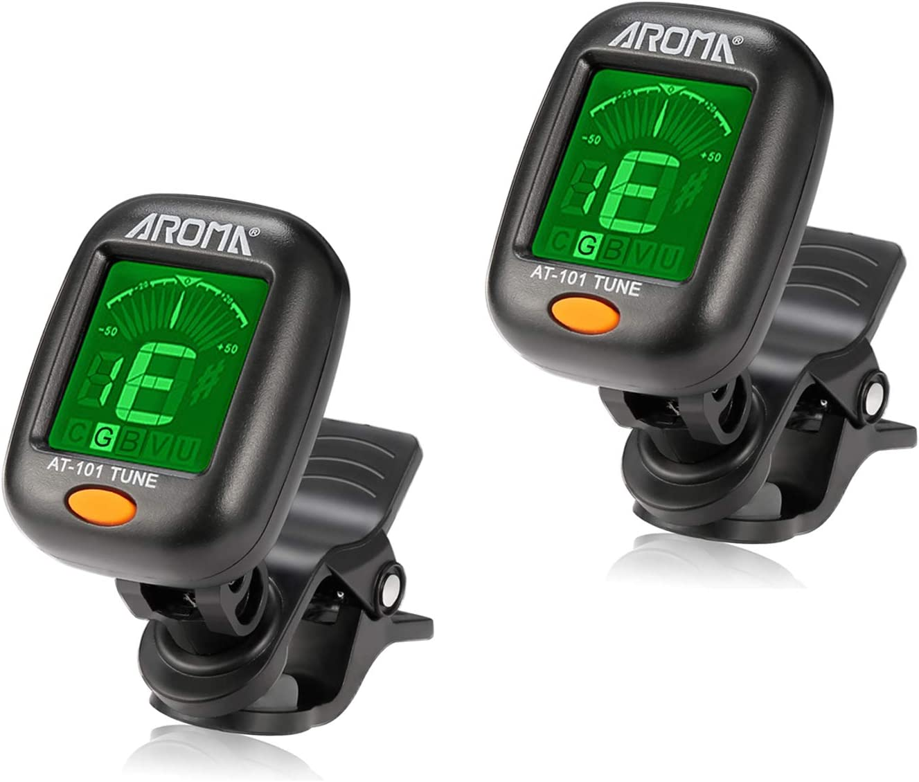 2 PACK Guitar Tuner 2 Set Meeland Mini Clip-on Tuner for Guitar//Bass//Ukulele and Violin//Anti-Interference Color LCD Display//Battery Included//Auto Power Off
