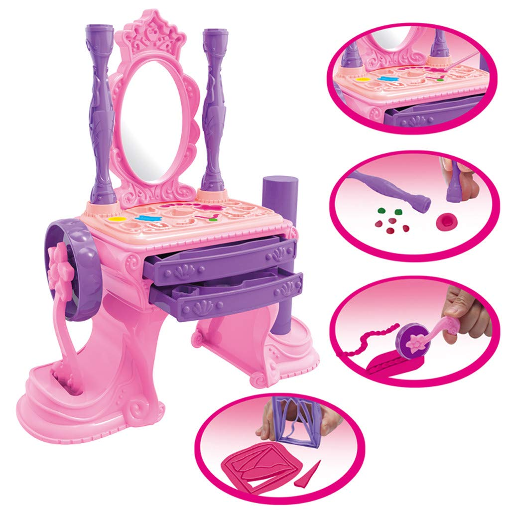 NszzJixo9 Girls Make Up Dressing Table Set , Kids Vanity Table,Glamorous Princess Dressing Table with Stool, Mirror, Hair Dryer,Best Gift for Girls by NszzJixo9 (Image #2)