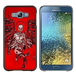 """Be-Star Único Patrón Plástico Duro Fundas Cover Cubre Hard Case Cover Para Samsung Galaxy E7 / SM-E700 ( Ángel de la Muerte Roja Sangre Alas Cráneo"""" )"""