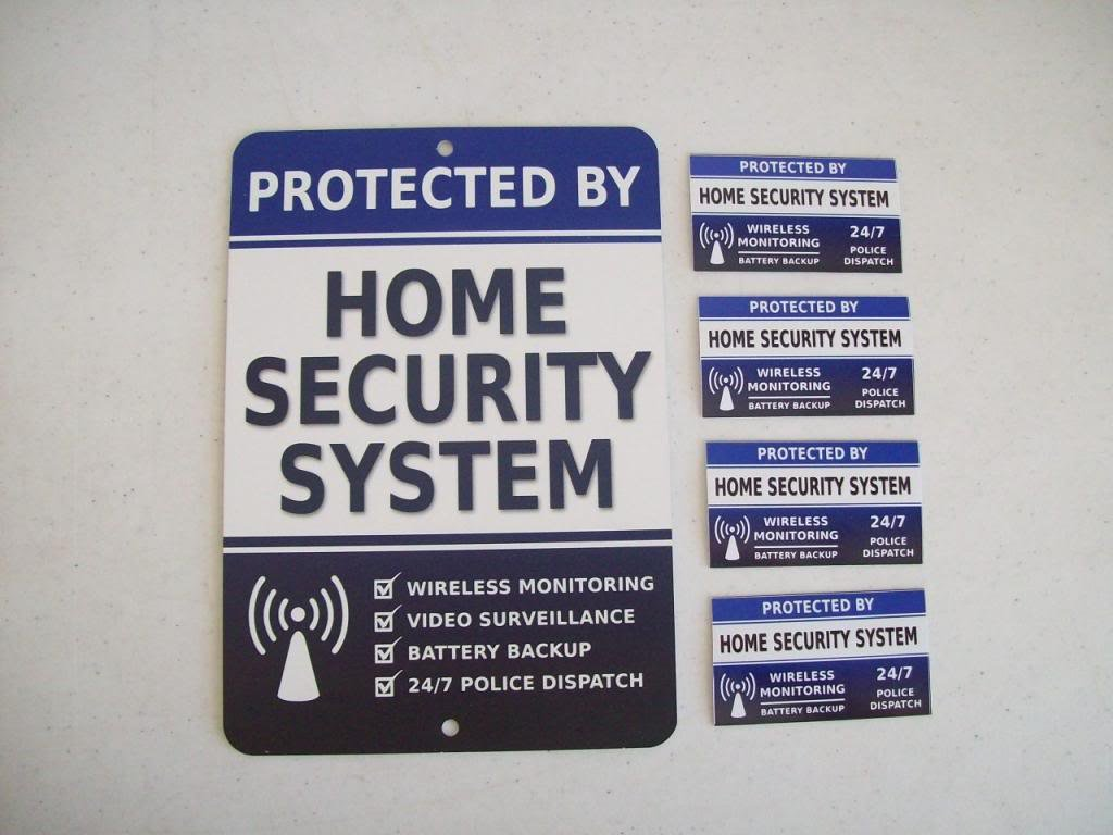 Home Security Alarm System Yard Sign & 4 Window Stickers - Stock # 713 by Security Signs