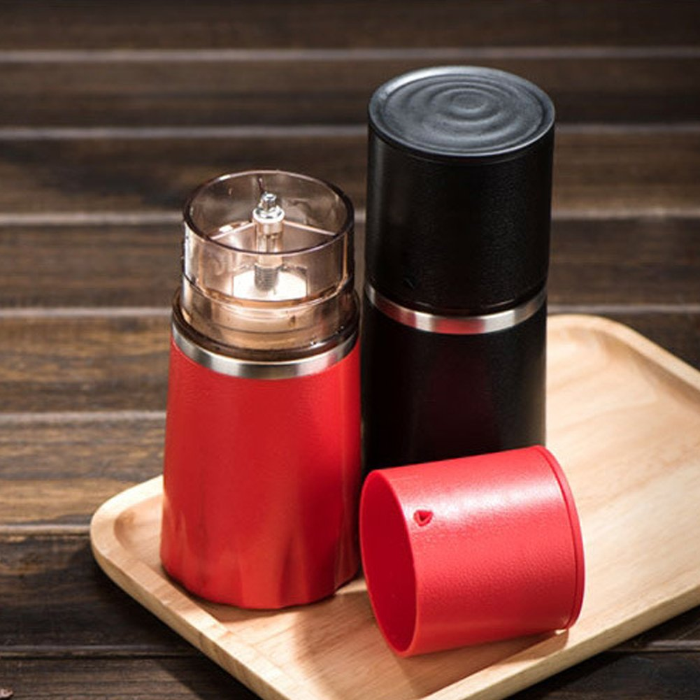 Stainless Steel Manual Coffee Grinder- Adjustable Hand Grinder - Ceramic  Burr Mill - Mini Portable Home Kitchen Travel Coffee Bean Grinder/Coffee Mill, All-in-One Set for Every Coffee Lover by ALPHELIGANCE