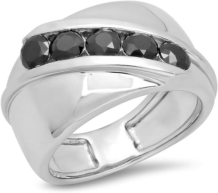 DazzlingRock Collection 1 Carat (CT) Argent Sterling Diamant Noir pour Homme Canal Lot de 5 Pierre Anniversaire de Mariage Band 1 CT