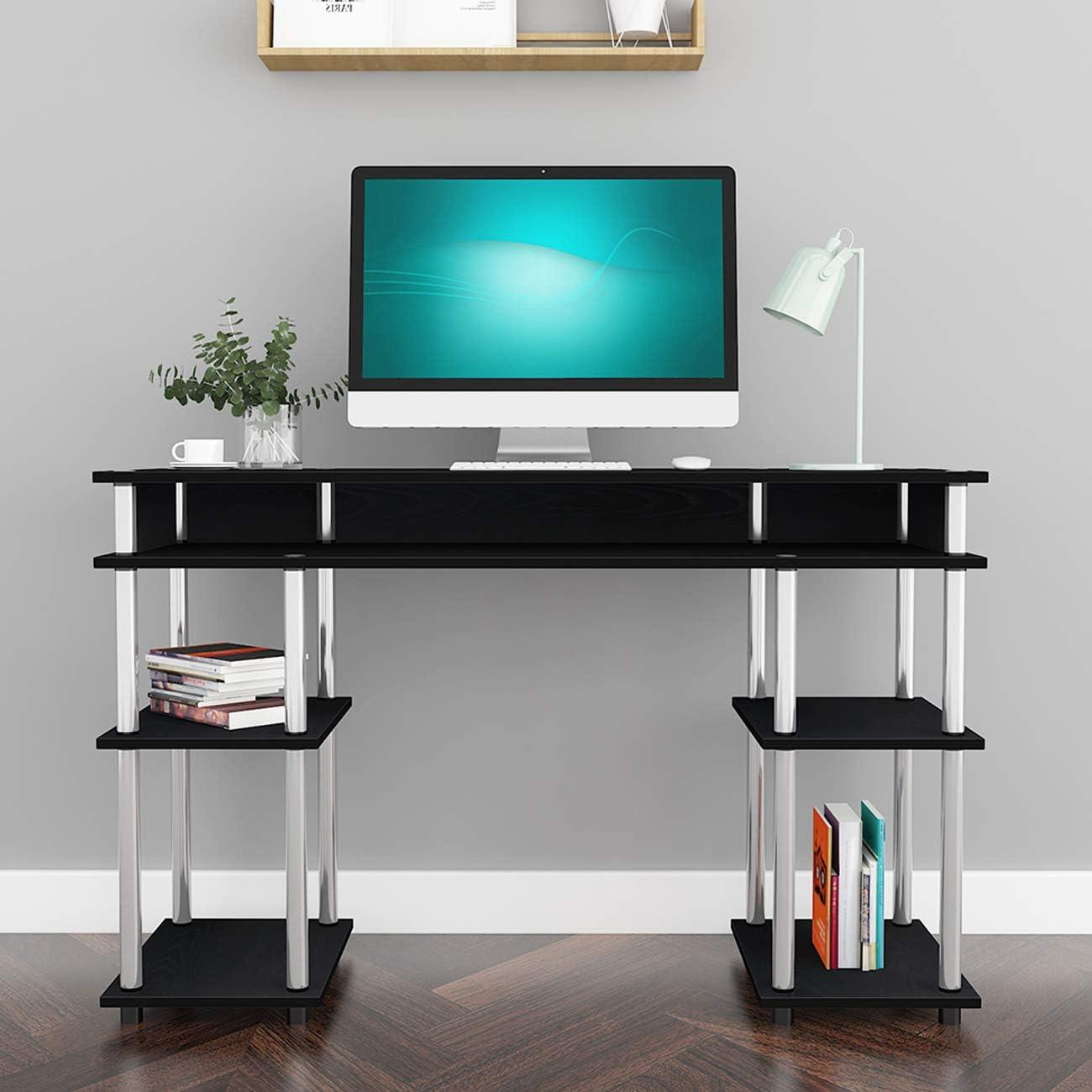 120 x 40 x 76 cm scrivania per computer con 2 ripiani SH-JSLP-MLS12040-B SogesHome per casa ufficio facile da montare Scrivania per studenti