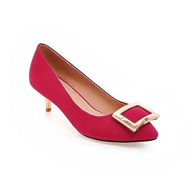 Odomolor Damen Ziehen auf Mittler Absatz Nubukleder Eingelegt Spitz Zehe Pumps Schuhe, Rot, 33