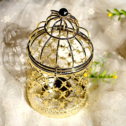 ALLOMN Candlestick Ornament,Iron Decorative Candle Lanterns,Creat Romantic Aatmosphere,Great Gift for Weddings,Christmas,Father's Day,3 Colours Romance Collection Table Lamp